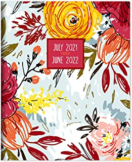 TF PUBLISHING - July 2021 - June 2022 Brush Flowers Medium Monthly Planner - 2 Page Spreads With Extra Large Calendar Grid...