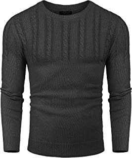 COOFANDY Men's Knitted Sweaters Casual Crewneck Slim Fit Long Sleeve Pullover Knitwear