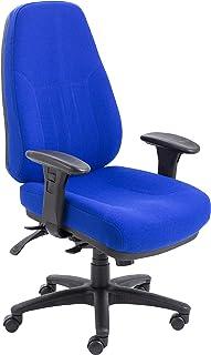 Office Hippo - Silla de escritorio, respaldo alto, uso 24 horas, capacidad de carga de 152 kg, reposabrazos 2D, mecanismo asíncrono, respaldo de trinquete, tela, color azul