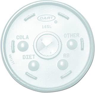 Dart 16SL Translucent Lid For Hot/Cold Foam Cup With Drilling For Sorbet (Case of 1,000)