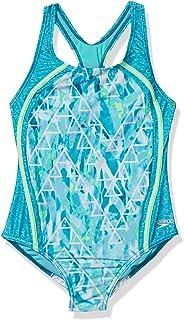 لباس شنا دخترانه اسپیدو یک تکه رکاب تسمه ای ضخیم پشت چاپ شده