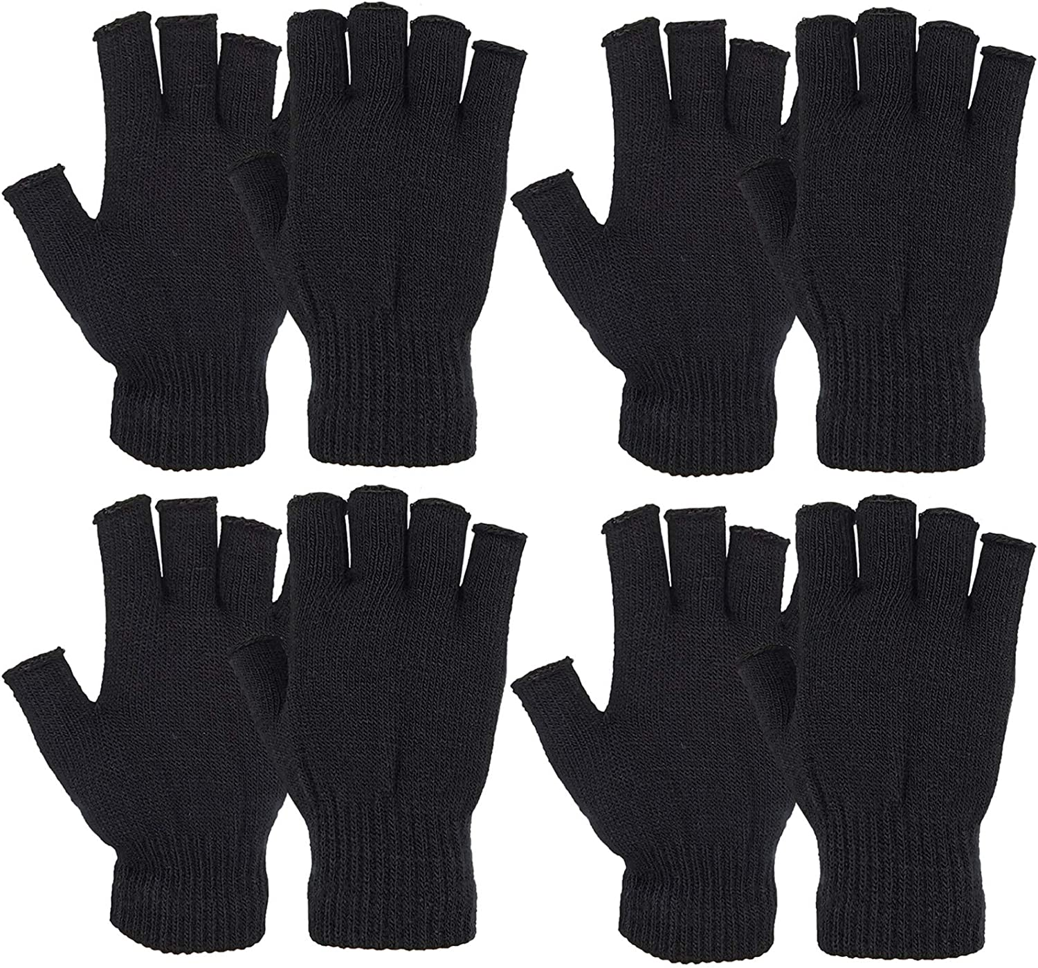 Outrip Womens Fingerless Gloves Winter Warm Knit Thumb Hole Mittens Arm Warmers