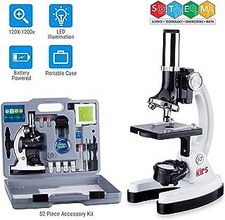 AmScope 120X-1200X 52-pcs Kids Beginner Microscope STEM Kit with Metal Body Microscope,..