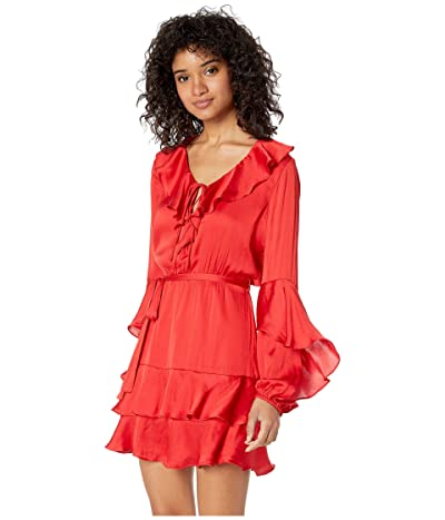 Bardot Donna Tiered Dress (Famous Red) Women