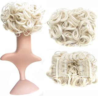 SWACC Short Messy Curly Dish Hair Bun Extension Easy Stretch hair Combs Clip in Ponytail Extension Scrunchie Chignon Tray Ponytail Hairpieces (Platinum Blonde-60#)