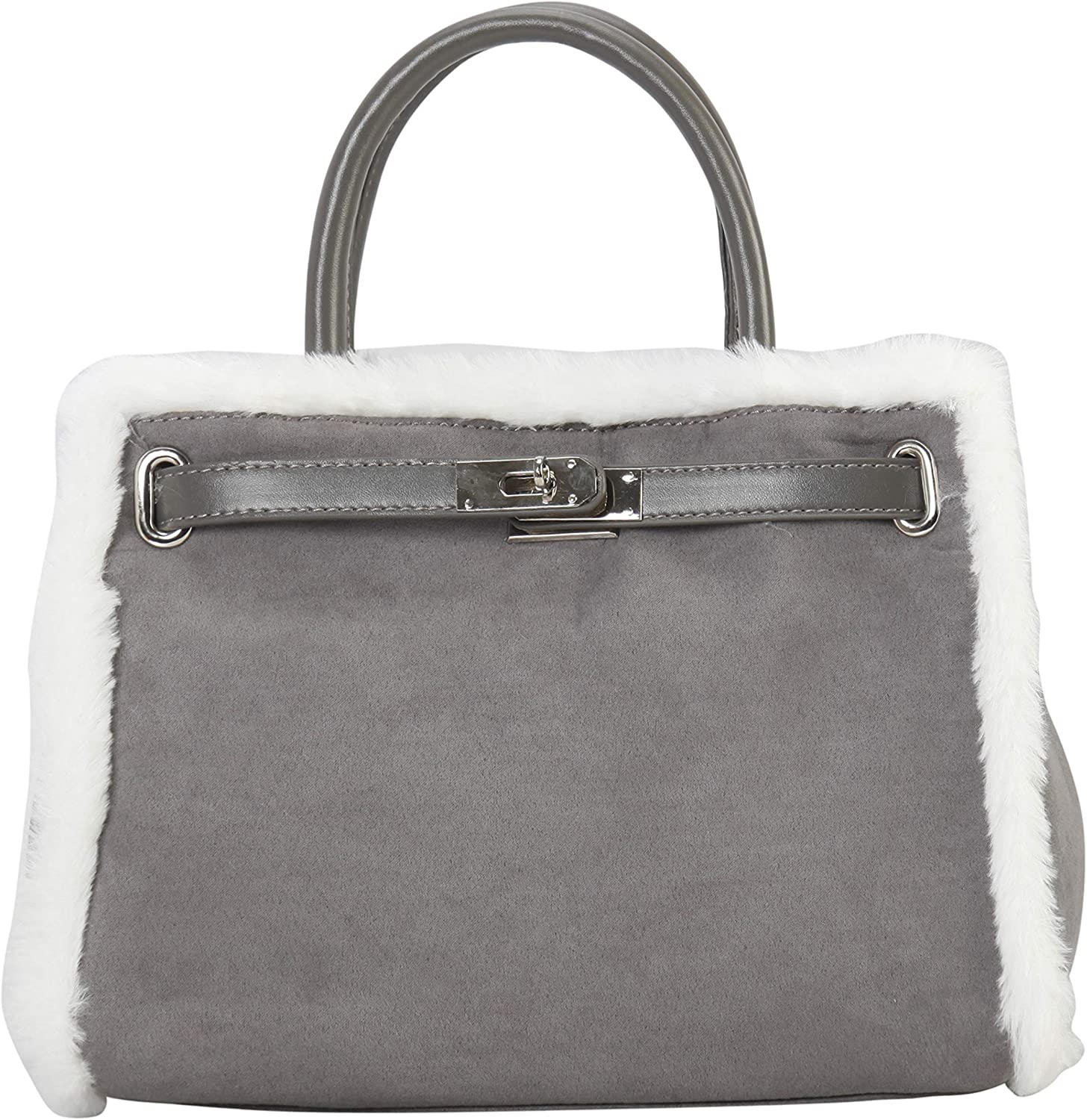 Diophy Man Made Suede Faux Fur Edging Tote Womens Purse