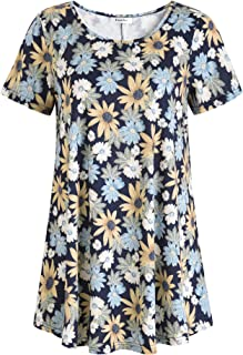 Esenchel Womens Short Sleeves Patterned Tunic Top