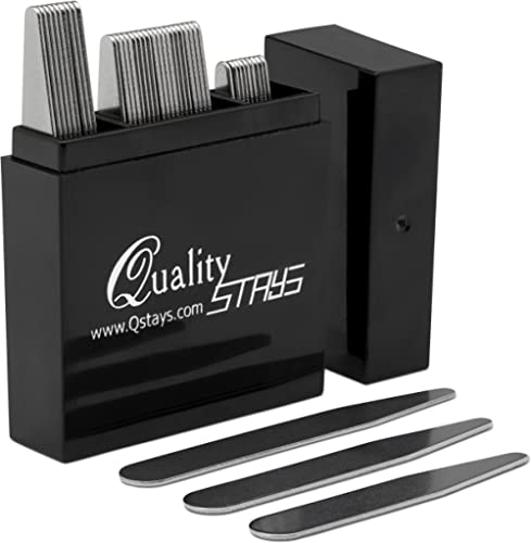NEW 52 Premium Metal Collar Stays 4 Sizes in a Divided Box mix FREE SHIPPING