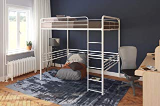 DHP 5472396 Full Metal Loft Bed with Ladder Space-Saving Design, White