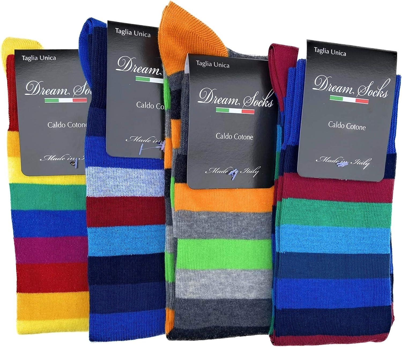 DREAM SOCKS 6 PAIA di calze calzini UOMO LUNGHE caldo cotone elasticizzate,100/% Made in Italy,vari assortimenti