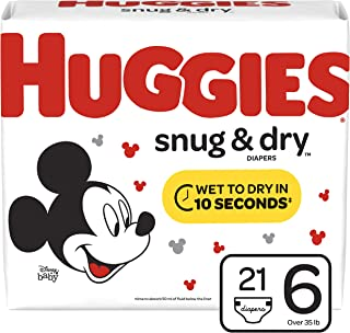 Huggies Snug & Dry Baby Diapers, Size 6 (fits 35+ lb.), 21 Count, Jumbo Pack (Packaging May Vary)