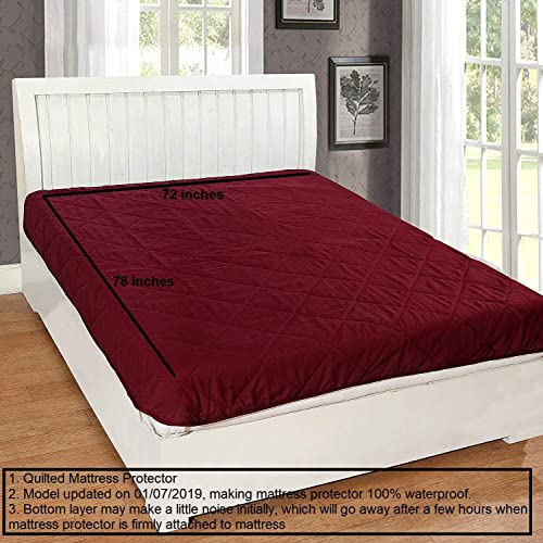 Rajasthan Crafts Double Bed Microfiber Quilted King Size Mattress Protector (Maroon, 72 x 78-inch)