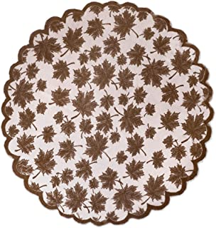 """DII CAMZ36555 40"""" Round Lace Table topper, Maple Leaf Brown - Perfect for Fall, Thanksgiving, Catering Events, Dinner Part..."""