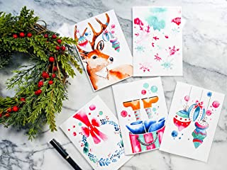 Cute Christmas Greeting Cards - Set of 5, Pack of 5,10 or 25 - Cute Christmas Stationery, made in Canada, Holidays Blank C...