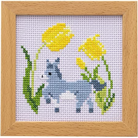 LECIEN (ルシアン) 刺しゅうキット かわいいどうぶつと季節のお花 フレーム付きクロスステッチキット ロバとチューリップ, 863
