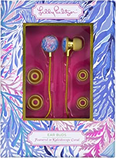Lilly Pulitzer Earbuds with Silicone Tips and Volume Control, Kaleidoscope Coral