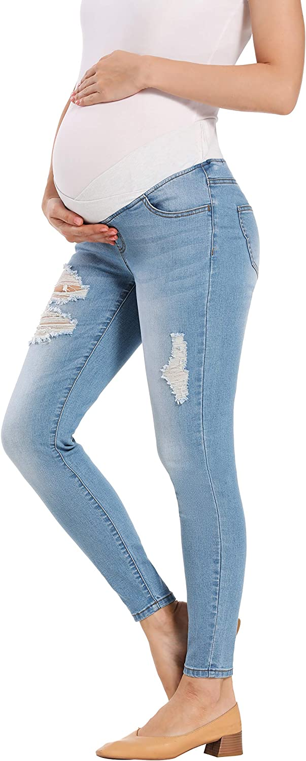Foucome Womens Maternity Super Stretch Comfort Low-Rise Skinny Jeans