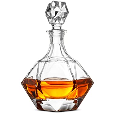 FineDine European Style Glass Whiskey Decanter & Liquor Decanter with Glass Stopper, 30 Oz.- With Magnetic Gift Box - Aristocratic Exquisite Diamond Design - Glass Decanter for Alcohol Bourbon Scotch.