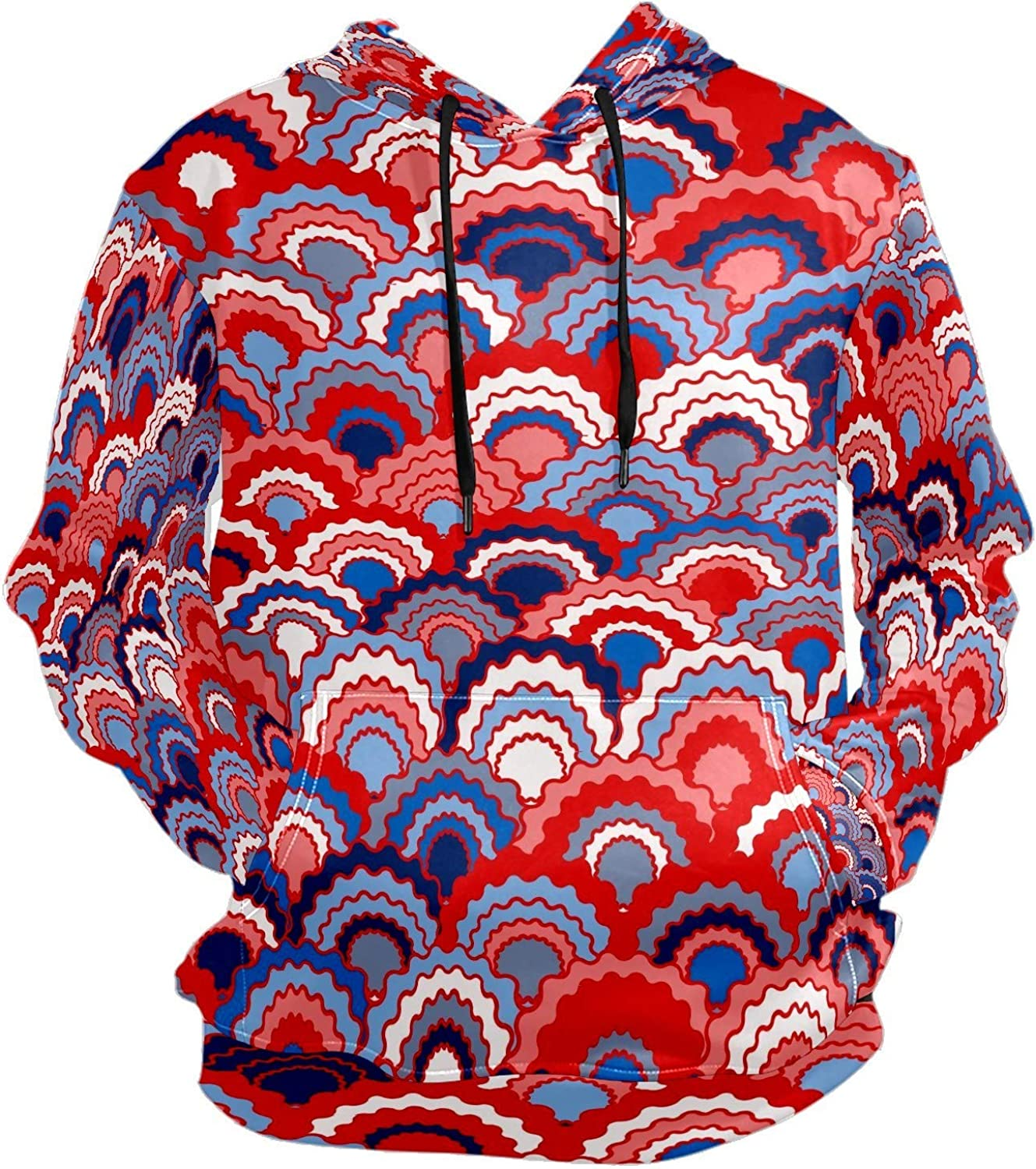 Men's Sport Hoodie Japanese Red Blue Navy White Fish Scale Pattern Big and Tall Hoodies for Men Women Oversized Hooded Sweatshirt Hip Hop Pullover Hoodie Midweight Hood for Boys Girls