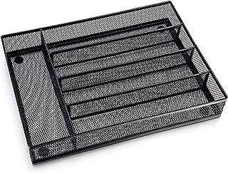 Organisateur de couverts de cuisine avec 4 compartiments séparateurs, boîte pour ustensiles rectangulaire en métal noir sa...