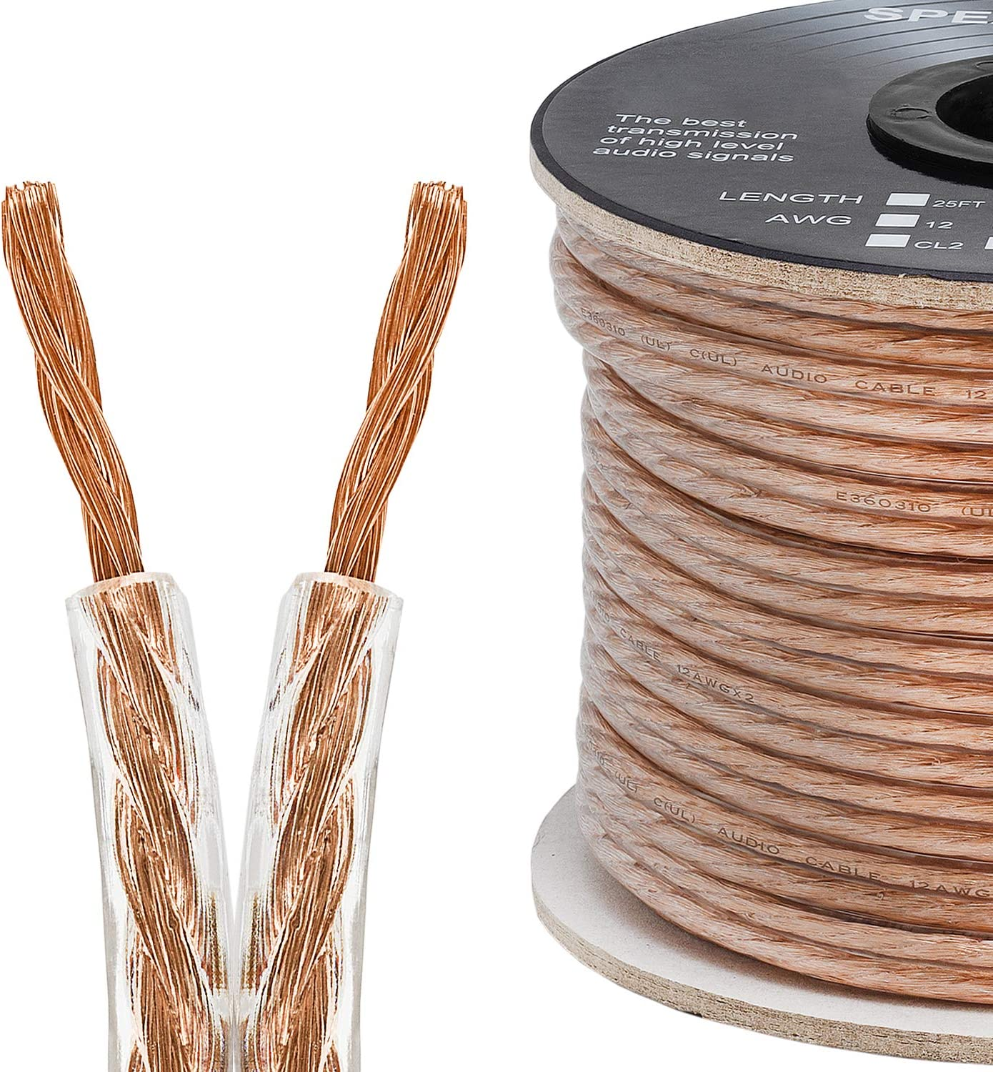Cmple - 9 Conductor 19AWG Speaker Wire for Home Theater System, Amplifier,  Car Audio Speaker Cable - 9 Feet, Clear