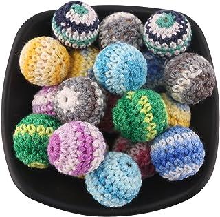 Mamimami Home 歯固め 乳児 はがため 安全 かぎ針編みのビーズ 20MM/50個 混合10色 円形ビーズ おしゃぶり DIY アクセサリー 男の子 女の子 出産 贈り物 御祝 お祝い カミカミ「FDA認可済」「BPAフリー」