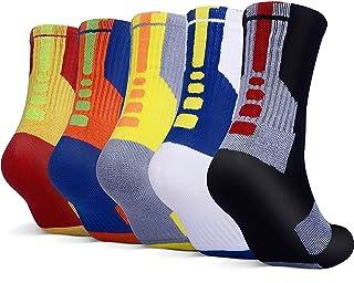 5 Pairs Mens Athletic Crew Socks Basketball Cushioned Dri-Fit Sport Long Compression Socks,6.5-11.5