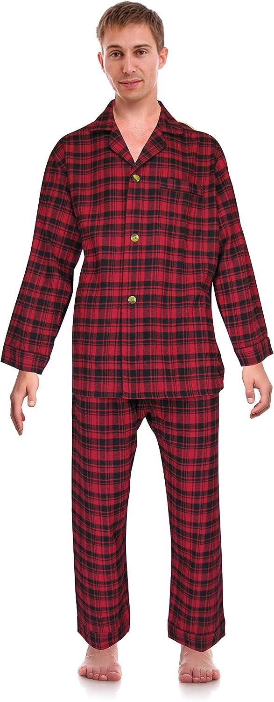 Super-cheap RK Classical Sleepwear Men's 100% Set Super popular specialty store Flannel Pajama Cotton