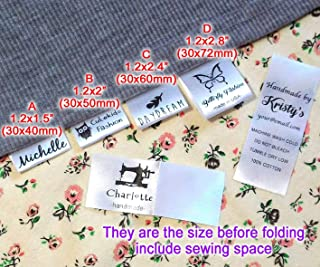 """Custom Text Logo Personalized Sewing Hanging Satin Ribbon Labels Folding Name tag Washable wash Care Label (B (1.2"""" x 2""""))"""