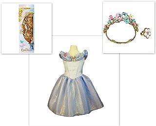 Disney Cinderella Live Action Costume Wig Wedding Tiara Ring & Dress 4-6x