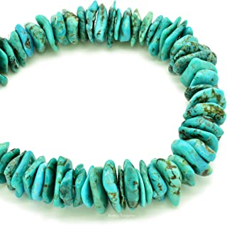 Bluejoy Genuine Natural Turquoise XL Raw Flats Bead 16-inch Strand for Jewelry Making (18mm)