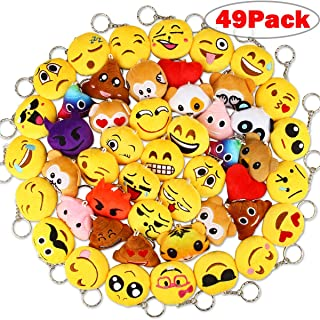 "Dreampark Christmas Emoji Keychain Plush, Mini Emoji Party Supplies [49 Pack] Emoji Plush Keychains for Kids Party Favors Christmas / Birthday Gifts 2"" Set of 49"