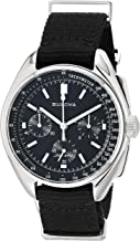 Bulova Men's Stainless Steel Quartz Sport Watch with Nylon Strap, Black, 20 (Model: 96A225)