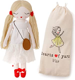 Hearts of Yarn Plush Mila Fashion Doll for Girls Soft Sleeping & Cuddle Buddy for Toddlers, Infants & Babies 19 inches Tall Extra Large, Handmade First Baby Doll & Toy Cute Nursery Room