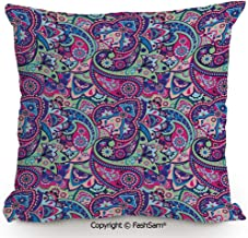 Decorative Throw Pillow Cover Pattern Based on Traditional Asian Elements Paisley Old Fashioned Floral Decorative for Pillow Cover for Living Room(14