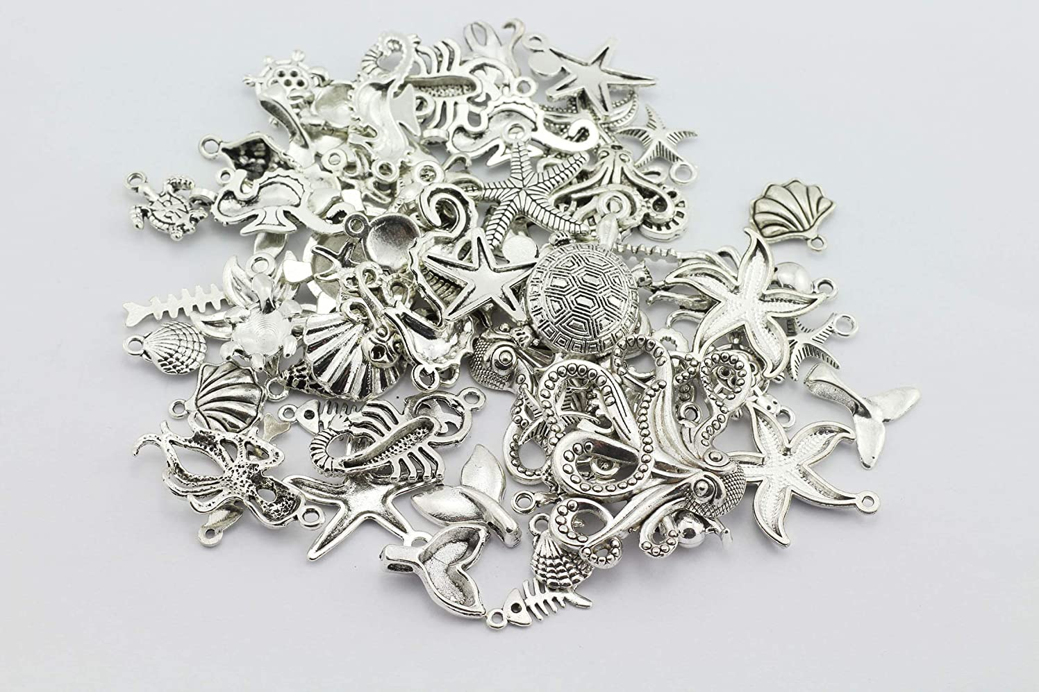 RuiLing 56pcs Antique Silver Charm Pendants DIY Jewelry Making Accessories Creative Marine Life Style Starfish Seahorse Shell Octopus Tortoise Pendants