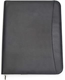 Professional Business Padfolio Portfolio Organizer Folder with Notepad - Black Synthetic/Faux Leather