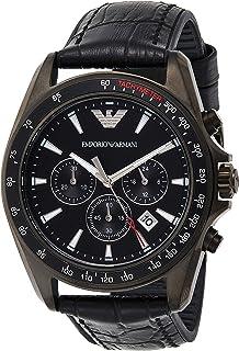 Emporio Armani Sigma Men's Black Dial Leather Band Watch - Ar6097, Analog Display
