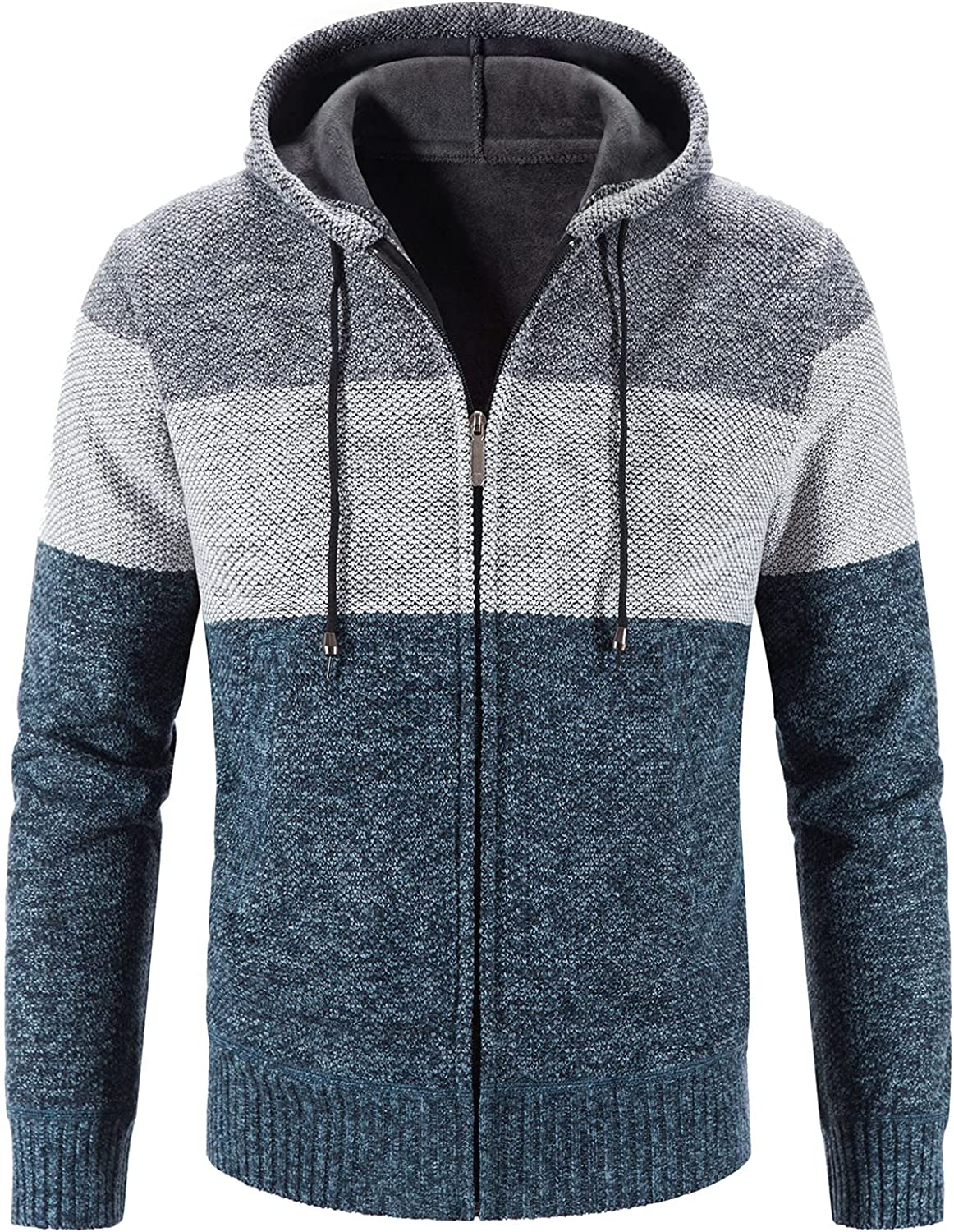 Fashion Outwear for Men, Fashion Patchwork Color Block Full Zipped Sweatshirt Casual Long Sleeve Hooded Coat