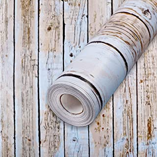 """Wall Paper Blue Distressed Wood Contact Paper 17.7""""x 118"""" PVC Self Adhesive Wood Wallpaper Thick Waterproof Easy to Clean ..."""
