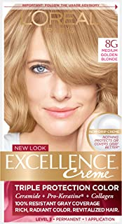 L'Oreal Paris Excellence Creme Permanent Hair Color, 8G Medium Golden Blonde, Pack of 1 kit 100% Gray Coverage Hair Dye
