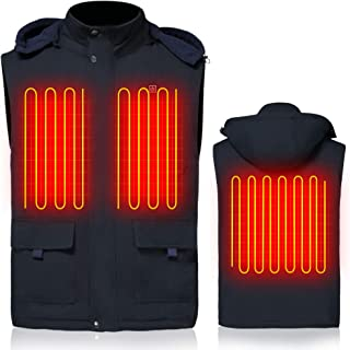 GLOBAL VASION Heated Vest Battery Rechargeable Electric Vest with Hood for Men Motorcycle,Hiking,Skiing,Snowboating