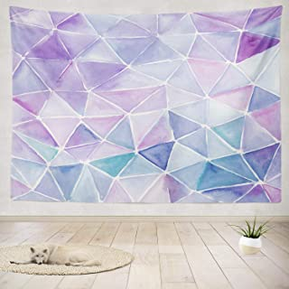 Purple Tapestry,ONELZ Light Purple Tapestry Triangle Watercolor Artwork Violet and Lilac Color Water Lavender Tapestry Wal...