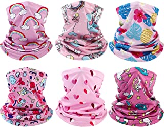 6 Pieces Kids Neck Gaiter Protection Face Cover Headband Printed Balaclava Bandana for Summer Cycling Hiking Sport Outdoor