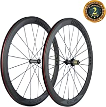 SunRise Bike 50mm Road Bike Carbon Wheelset 23mm Clincher Wheel with Powerway R36 Hub