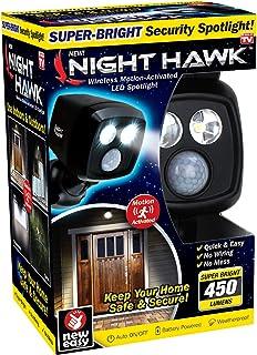 Ontel Night Hawk - Super Bright 450 Lumen LED Outdoor Indoor Security Spotlight | Advanced Motion Sensor | Adjustable Head | Easy Wireless Installation | 3000 Uses