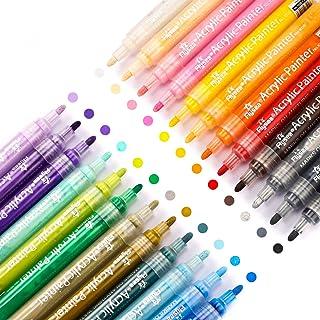 Flysea Stylos Marqueurs Lot de 24 Couleurs Acrylique Marqueurs à Dessin Feutres Peinture pour Mandalas, Scrapbooking pour ...