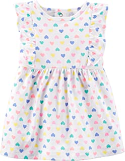 Carter's Baby Girls Heart Dress with Flutter Sleeves and Diaper Cover