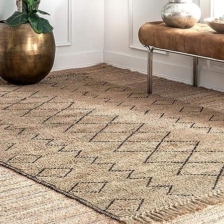 Amazon Com Nuloom Morrigan Geometric Jute Area Rug 7 6 X 9 6 Natural Furniture Decor