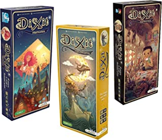Asmodee Dixit Expansion Bundle of 3: Memories, Daydreams, and Harmonies with Myriads Drawstring Bag